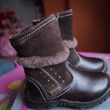 Сапоги, сапожки кожаные для девочки, зимние, новые р. 22