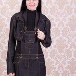 Джинсовый костюм с юбочным комбинизоном Янитта 1525 , размер 48