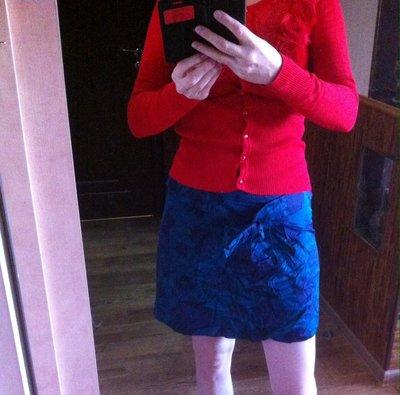 Хлопковая юбка в цветочный принт и с поясом с бантиком новое сост.