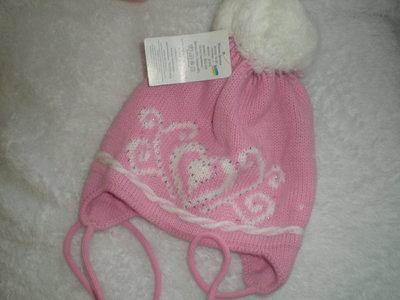 Красивая зимняя шапка на девочку 2 - 4 года